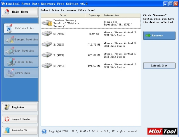 choose ntfs partition where files were deleted and click recover to enter partition then deleted files emerges